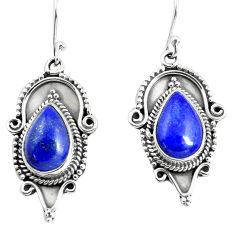 7.66cts natural blue lapis lazuli 925 sterling silver dangle earrings p52858