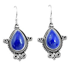 8.54cts natural blue lapis lazuli 925 sterling silver dangle earrings p52869