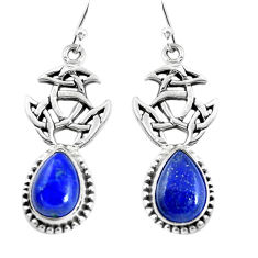 9.72cts natural blue lapis lazuli 925 sterling silver dangle earrings p54865