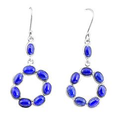 13.69cts natural blue lapis lazuli 925 sterling silver dangle earrings p56906