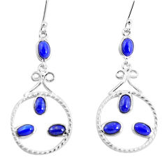 8.42cts natural blue lapis lazuli 925 sterling silver dangle earrings p56928