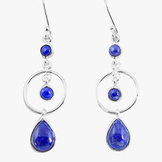 8.73cts natural blue lapis lazuli 925 sterling silver dangle earrings p56951