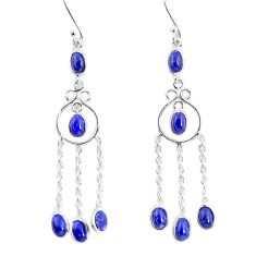 9.56cts natural blue lapis lazuli 925 sterling silver dangle earrings p56973