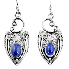3.36cts natural blue lapis lazuli 925 sterling silver dangle earrings p57611