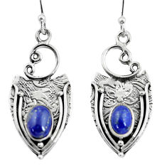 3.19cts natural blue lapis lazuli 925 sterling silver dangle earrings p57613