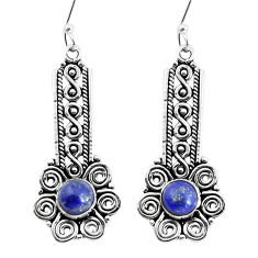 2.47cts natural blue lapis lazuli 925 sterling silver dangle earrings p58246