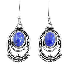 4.08cts natural blue lapis lazuli 925 sterling silver dangle earrings p58407