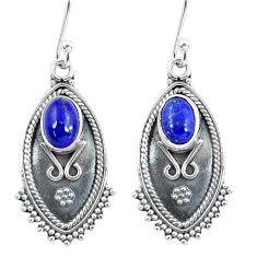 3.93cts natural blue lapis lazuli 925 sterling silver dangle earrings p60052