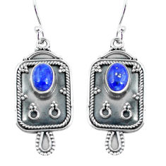 3.35cts natural blue lapis lazuli 925 sterling silver dangle earrings p60071