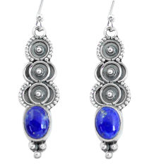 4.19cts natural blue lapis lazuli 925 sterling silver dangle earrings p60113
