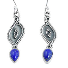 3.23cts natural blue lapis lazuli 925 sterling silver dangle earrings p60194