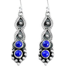 2.32cts natural blue lapis lazuli 925 sterling silver dangle earrings p60230