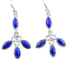 10.58cts natural blue lapis lazuli 925 sterling silver dangle earrings p77388