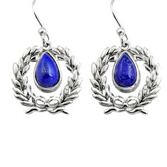 4.52cts natural blue lapis lazuli 925 sterling silver dangle earrings p84943