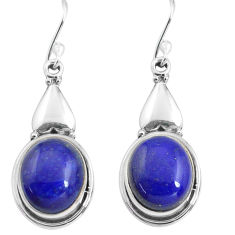 12.03cts natural blue lapis lazuli 925 sterling silver dangle earrings p85627
