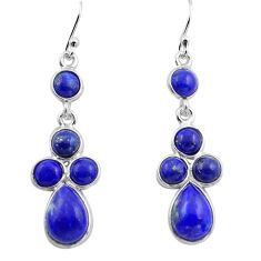 10.05cts natural blue lapis lazuli 925 sterling silver dangle earrings p88345
