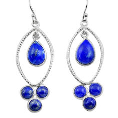 11.23cts natural blue lapis lazuli 925 sterling silver dangle earrings p88374