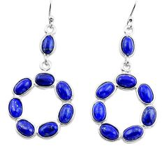 13.63cts natural blue lapis lazuli 925 sterling silver dangle earrings p88386