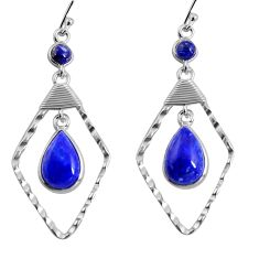 11.23cts natural blue lapis lazuli 925 sterling silver dangle earrings p90012