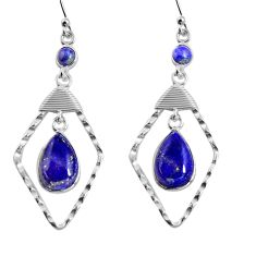 10.82cts natural blue lapis lazuli 925 sterling silver dangle earrings p90013
