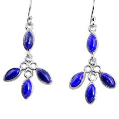 8.68cts natural blue lapis lazuli 925 sterling silver dangle earrings p91364