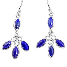 8.10cts natural blue lapis lazuli 925 sterling silver dangle earrings p91398