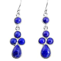 11.26cts natural blue lapis lazuli 925 sterling silver dangle earrings p91400
