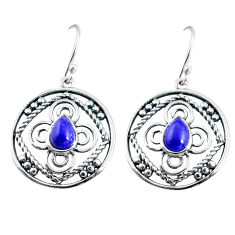 4.22cts natural blue lapis lazuli 925 sterling silver dangle earrings p91463