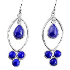 10.81cts natural blue lapis lazuli 925 sterling silver dangle earrings p91539