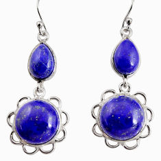 19.29cts natural blue lapis lazuli 925 sterling silver dangle earrings p91570