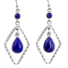 9.54cts natural blue lapis lazuli 925 sterling silver dangle earrings p92489