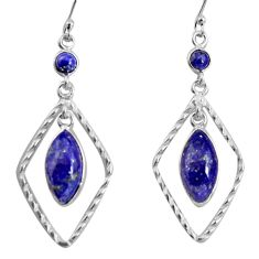 11.73cts natural blue lapis lazuli 925 sterling silver dangle earrings p92492