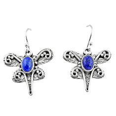 3.41cts natural blue lapis lazuli 925 sterling silver dragonfly earrings p57573