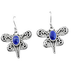 3.16cts natural blue lapis lazuli 925 sterling silver dragonfly earrings p57598