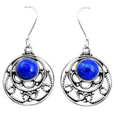 6.85cts natural blue lapis lazuli 925 sterling silver earrings jewelry p41325