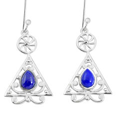 3.42cts natural blue lapis lazuli 925 sterling silver earrings jewelry p58534