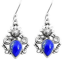 7.66cts natural blue lapis lazuli 925 sterling silver flower earrings p50709
