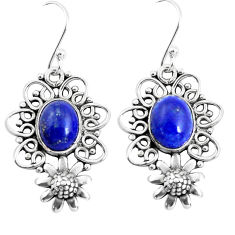 6.60cts natural blue lapis lazuli 925 sterling silver flower earrings p52000