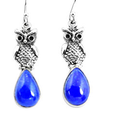 8.10cts natural blue lapis lazuli 925 sterling silver owl earrings p54972