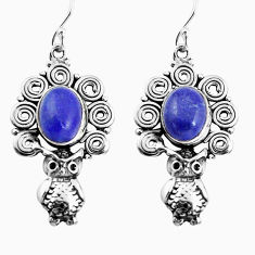 7.62cts natural blue lapis lazuli 925 sterling silver owl earrings p58323