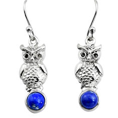 2.21cts natural blue lapis lazuli 925 sterling silver owl earrings p84934