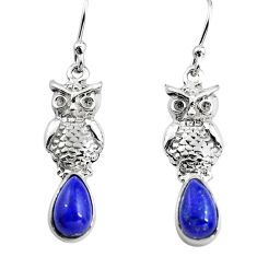 3.48cts natural blue lapis lazuli 925 sterling silver owl earrings p84937