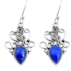 5.10cts natural blue lapis lazuli 925 sterling silver seahorse earrings p41488