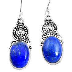 11.89cts natural blue lapis lazuli 925 sterling silver seahorse earrings p41489
