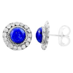 5.22cts natural blue lapis lazuli 925 sterling silver stud earrings p74661