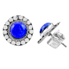 6.04cts natural blue lapis lazuli 925 sterling silver stud earrings p74662