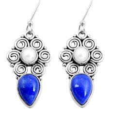 441.18cts natural blue lapis lazuli pearl 925 silver dangle earrings p41288