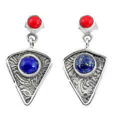 4.70cts natural blue lapis lazuli red coral 925 silver dangle earrings p57586
