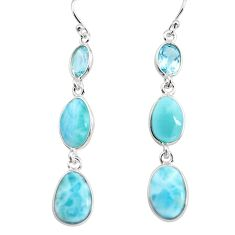 16.04cts natural blue larimar topaz 925 sterling silver dangle earrings p76675