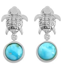 5.44cts natural blue larimar topaz 925 sterling silver tortoise earrings c4549